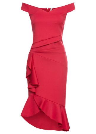 Sukienka shirtowa z falbanami bonprix czerwony
