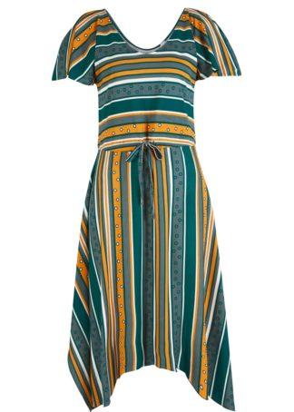 Sukienka z dżerseju bonprix głęboki zielony - miodowy - eukaliptusowy w paski
