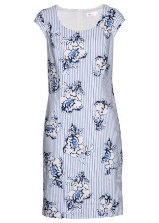 Sukienka lniana bonprix niebiesko-biel wełny z nadrukiem