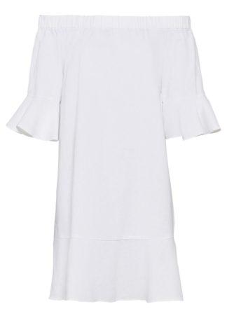 Sukienka lniana z dekoltem carmen bonprix biały