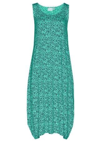 Sukienka midi z dżerseju bonprix ciemnoniebiesko-szmaragdowy z nadrukiem