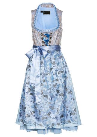 Sukienka w ludowym stylu w żakardowy deseń