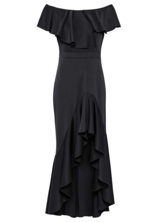 Długa sukienka z falbaną bonprix czarny