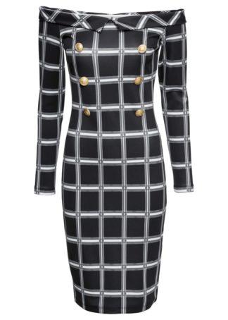 Sukienka z dekoltem carmen bonprix czarno-biało-szary w kratę
