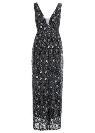 Sukienka koronkowa bonprix czarno-biały
