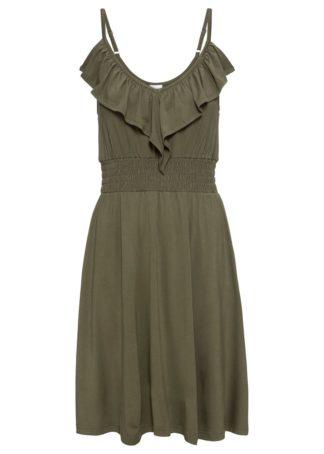 Sukienka z dżerseju z falbaną bonprix ciemnooliwkowy