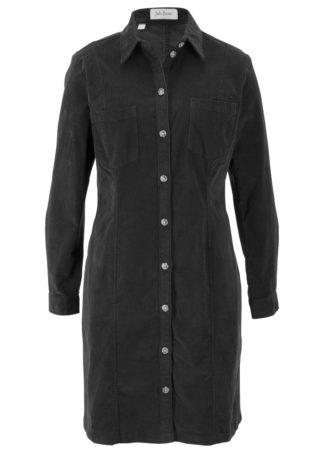 Sukienka sztruksowa ze stretchem bonprix czarny