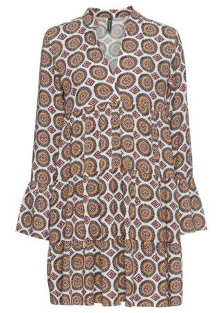 Sukienka bonprix biało-brązowo-naturalny wzorzysty