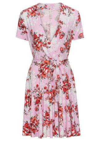 Sukienka z wiązaniem z przodu bonprix jasnoróżowy w kwiaty