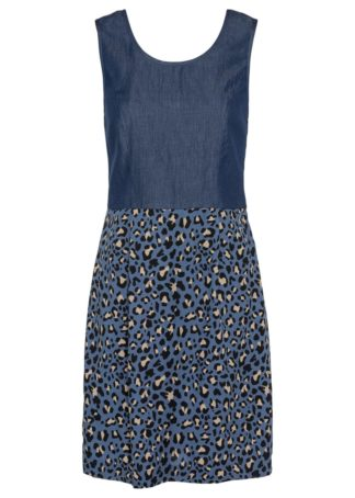 """Sukienka dżinsowa z różnych materiałów bonprix niebieski """"stone"""""""