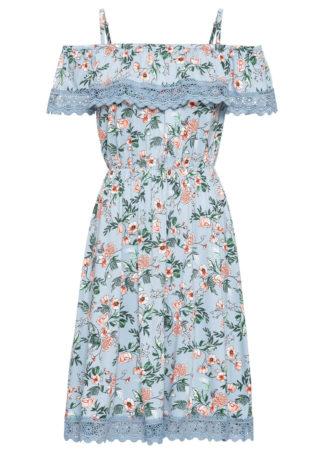 Sukienka z nadrukiem i koronką bonprix jasnoniebieski w kwiaty