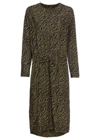 Sukienka midi bonprix ciemnooliwkowo-czarny w paski zebry