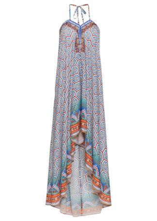 Sukienka kolorowa bonprix niebieski wzorzysty