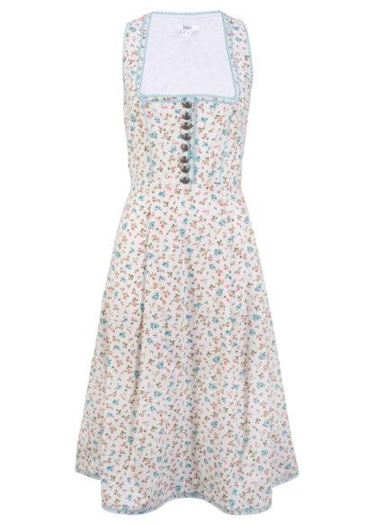 Sukienka w ludowym stylu bonprix biały w kwiaty