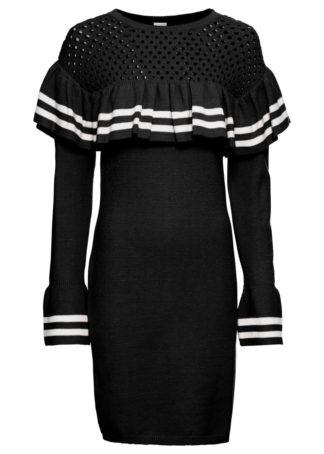 Sukienka dzianinowa z rękawami z falbanami bonprix czarno-biały