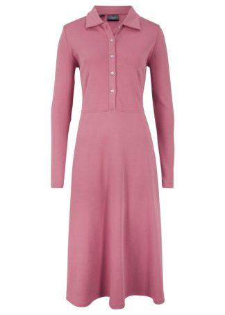 Sukienka z plisą guzikową bonprix jeżynowy sorbetowy
