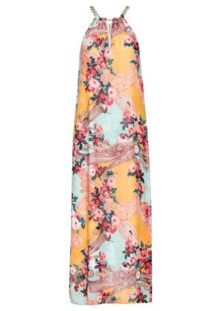Sukienka wzorzysta z dekoltem halter bonprix ciemnożółty wzorzysty