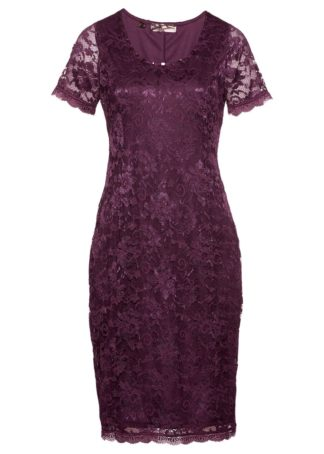 Sukienka koronkowa Premium bonprix jeżynowy