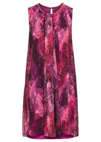 Sukienka z łańcuszkiem bonprix jasnoróżowy we wzór skóry węża