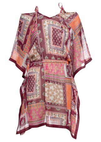 Sukienka off-shoulder bonprix lila-różowy wzorzysty
