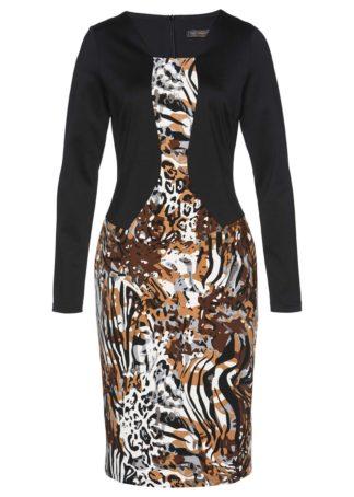 Sukienka bonprix wielbłądzia wełna - czarno-szary leo
