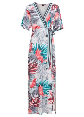 Sukienka z dżerseju z założeniem kopertowym bonprix jasnoszary wzorzysty
