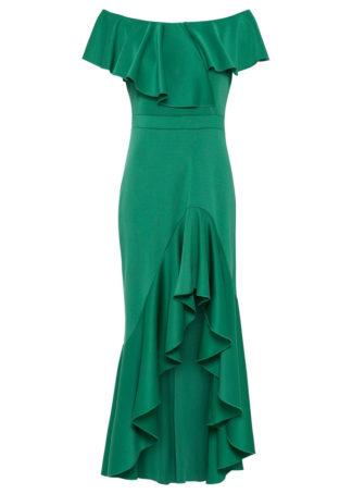 Długa sukienka z falbaną bonprix zielony
