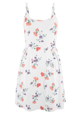 Sukienka z dżerseju z nadrukiem bonprix biel wełny w kwiaty