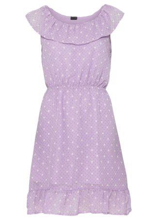 Sukienka z falbanami bonprix jasny lila w kropki