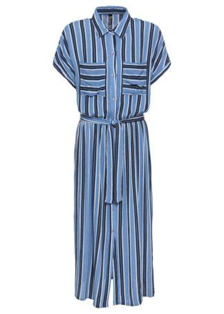 Sukienka szmizjerka bonprix ciemnoniebiesko-kryształowy niebieski - biel wełny w paski