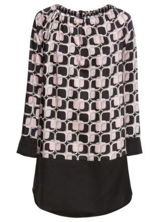 Sukienka z kokardką bonprix czarno-jasnoróżowy z nadrukiem