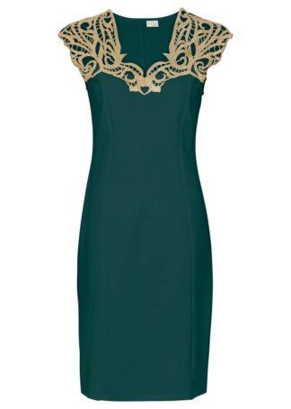 Sukienka z koronką bonprix głęboki zielony - złoty