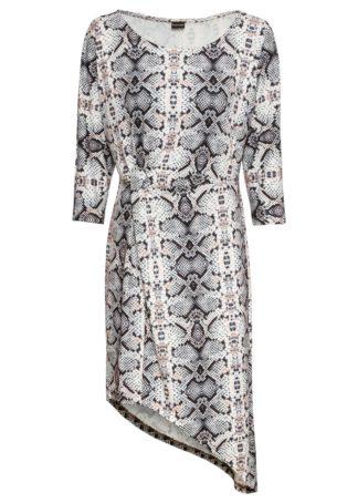 Sukienka z asymetryczną linią dołu bonprix biel wełny we wzór skóry węża