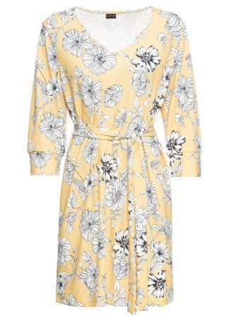 Sukienka z dżerseju bonprix jasnożółty w kwiaty