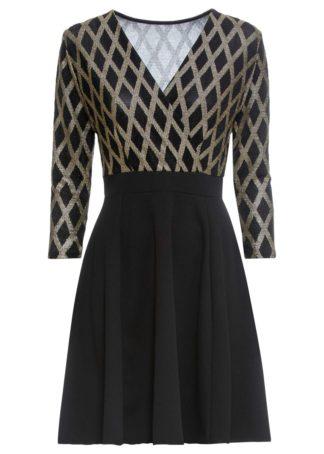 Sukienka z połyskiem bonprix czarno-złoty