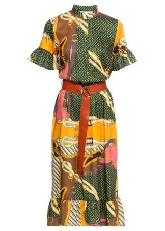 Sukienka z paskiem bonprix jasnoróżowo-brązowo-zielono-ciemnozielony wzorzyst
