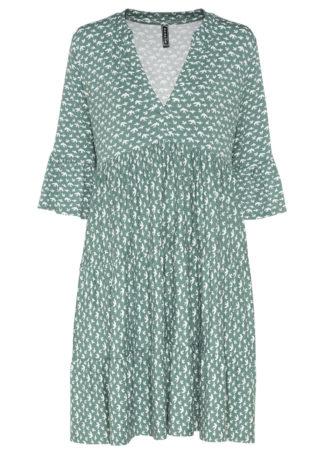 Sukienka bonprix zielono-biały wzorzysty