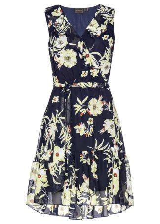 Sukienka szyfonowa bonprix ciemnoniebiesko-cytrynowy sorbetowy z nadrukiem