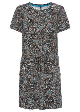Sukienka z dżerseju w deseń paisley bonprix turkusowo-czerwono-czarny paisley