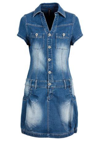 """Sukienka dżinsowa z plisą guzikową i kieszeniami na wys. biustu bonprix niebieski """"stone"""""""