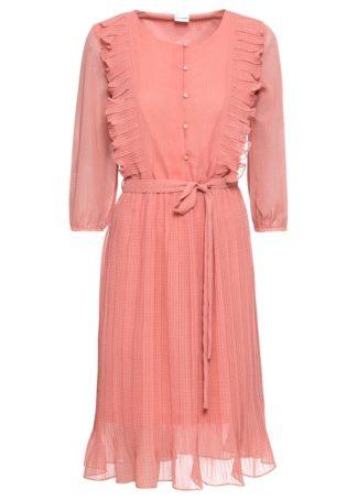 Sukienka plisowana bonprix dymny brzoskwiniowy w kropki