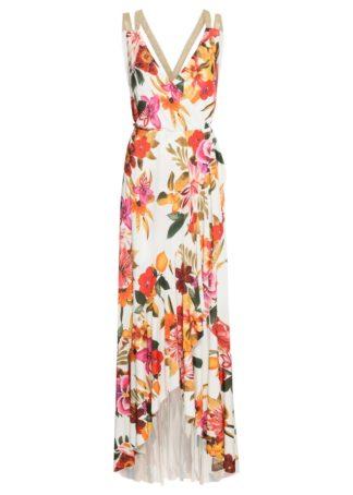 Sukienka w kwiaty bonprix biało-czerwono-różowy w kwiaty