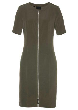 Sukienka z zamkiem bonprix ciemnooliwkowy