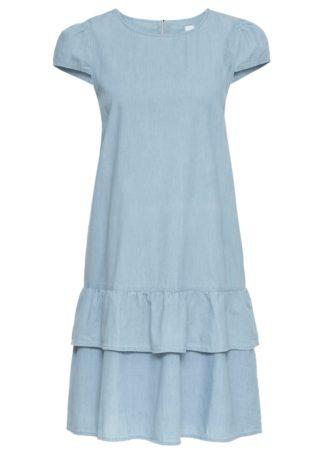 Sukienka dżinsowa z falbaną bonprix jasnoniebieski