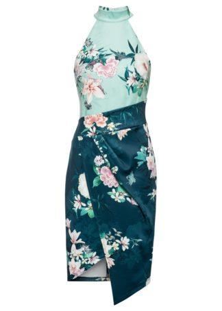 Sukienka z dekoltem halter w kwiaty bonprix ciemnoniebiesko-turkusowy w kwiaty