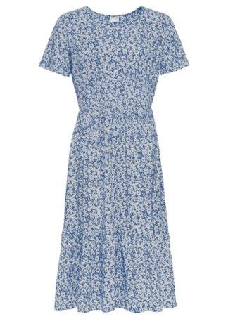 Sukienka o linii litery A bonprix lodowy niebieski -biały
