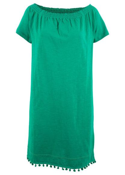 """Sukienka z dżerseju z dekoltem """"carmen"""" bonprix zielony miętowy"""