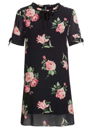 Sukienka w kwiaty bonprix czarny w kwiaty