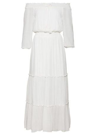 """Długa sukienka z dekoltem """"carmen"""" bonprix biel wełny"""