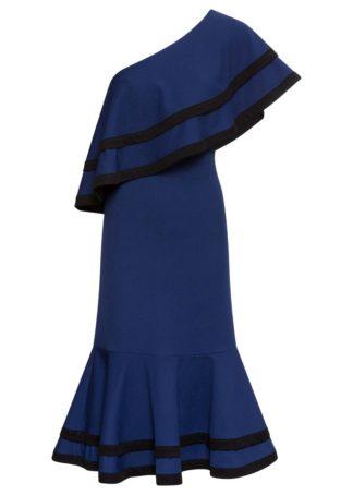 Sukienka z falbanami bonprix kobaltowo-biały